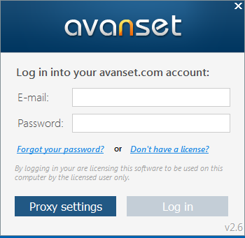 Enter e-mail and password of your avanset.com account