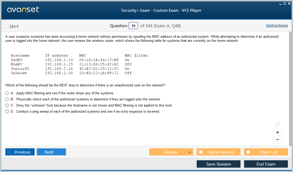 VCE Security+ Exam screenshot #2