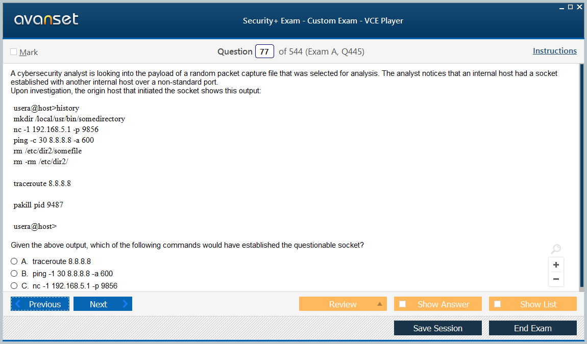 VCE Security+ Exam screenshot #3